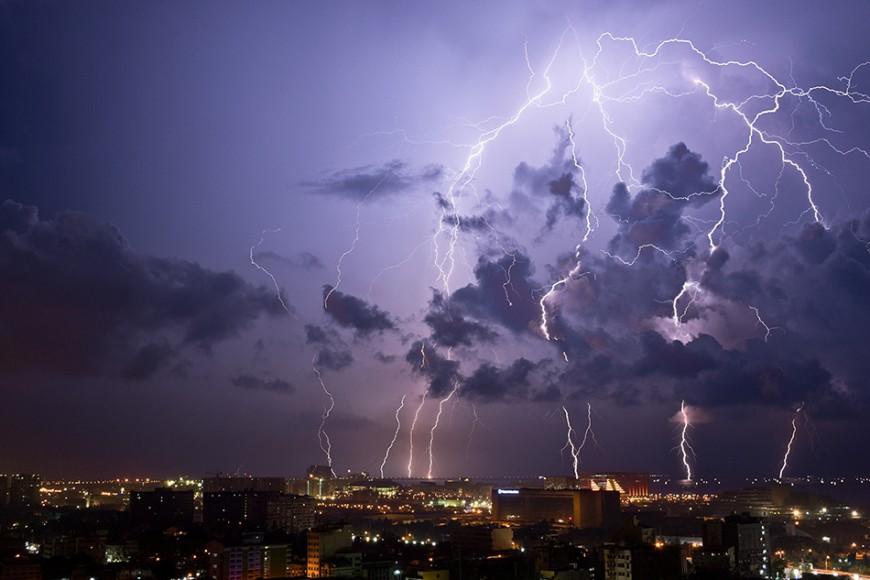 Intense electrical storm over Pasay, Philippines