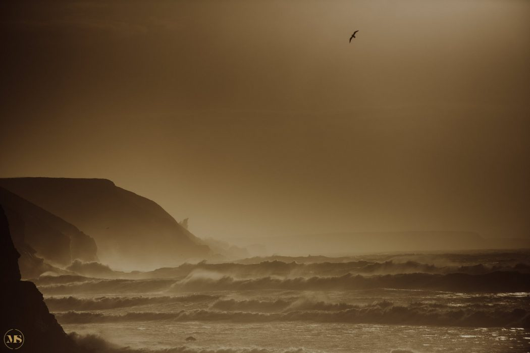 Storm Ophelia photographed by www.markshawphotography.co.uk at Porthtowan, Cornwall